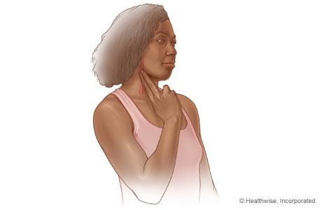 Cómo tomarse el pulso en un lado del cuello usando los dedos índice y mayor